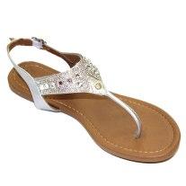 Silver Embellished Slingback Thong Sandals